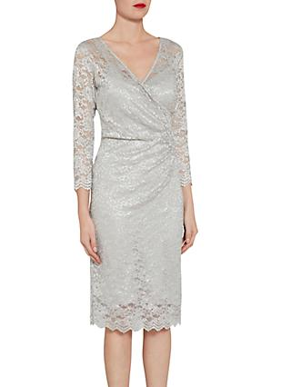 Gina Bacconi Antique metallic Stretch Lace Dress, Silver