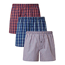 Buy John Lewis Milford Check Stripe Woven Cotton Boxers, Pack of 3, Blue/Red Online at johnlewis.com