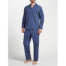 Buy John Lewis Gurgaon Check Cotton Poplin Pyjamas, Blue Online at johnlewis.com