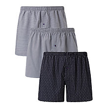 Buy John Lewis Ashstead Multi Pattern Woven Cotton Boxers, Pack of 3, Navy Online at johnlewis.com
