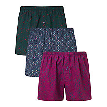 Buy John Lewis Hex Print Woven Cotton Boxers, Pack of 3, Multi Online at johnlewis.com