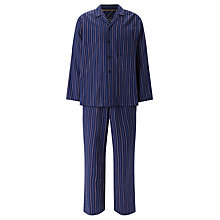 Buy John Lewis Herringbone Stripe Brushed Cotton Pyjamas, Navy Online at johnlewis.com