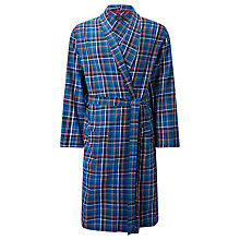 Buy John Lewis Tauru Brushed Cotton Check Robe, Blue Online at johnlewis.com