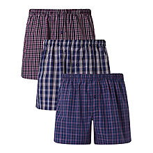 Buy John Lewis Abbots Check Woven Cotton Boxers, Pack of 3, Navy Online at johnlewis.com