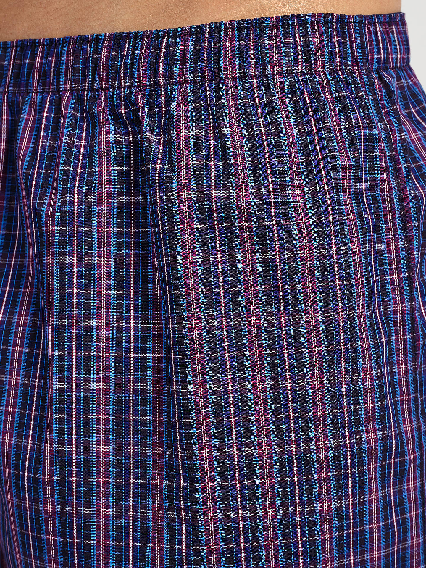 John Lewis Abbots Check Woven Cotton Boxers Pack Of 3 Navy At