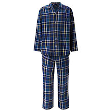 Buy John Lewis Tauru Check Brushed Cotton Pyjamas, Navy Online at johnlewis.com