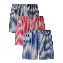 Buy John Lewis Esher Stripe Woven Cotton Boxers, Pack of 3, Blue/Red Online at johnlewis.com