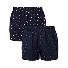 Buy John Lewis Arctic Print Woven Cotton Boxers, Pack of 2, Navy Online at johnlewis.com