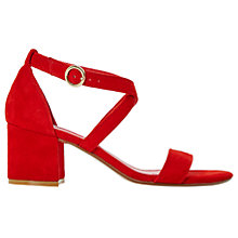 Buy Dune Montie Cross Strap Block Heeled Sandals, Red Online at johnlewis.com
