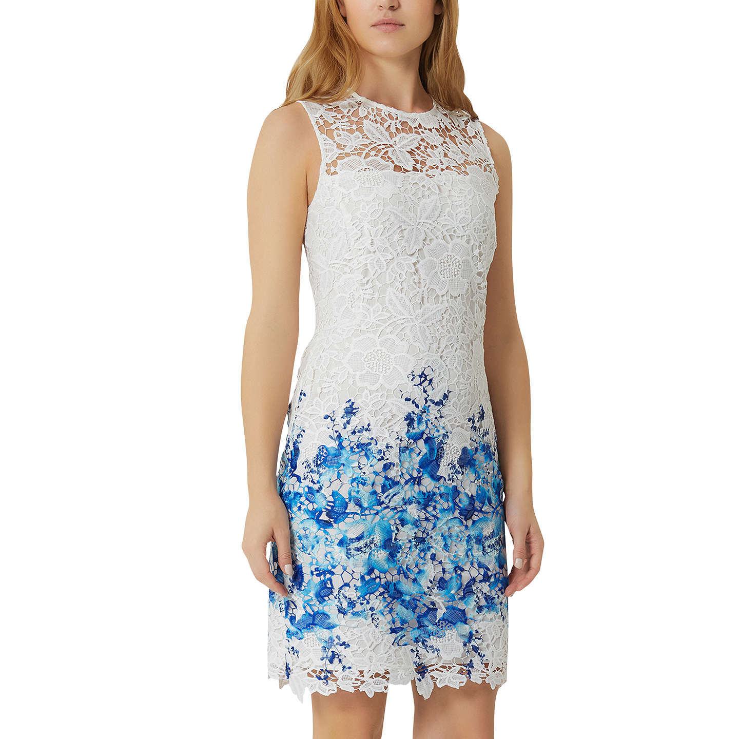 Damsel In A Dress Amily Boarder Dress, White/Blue At John