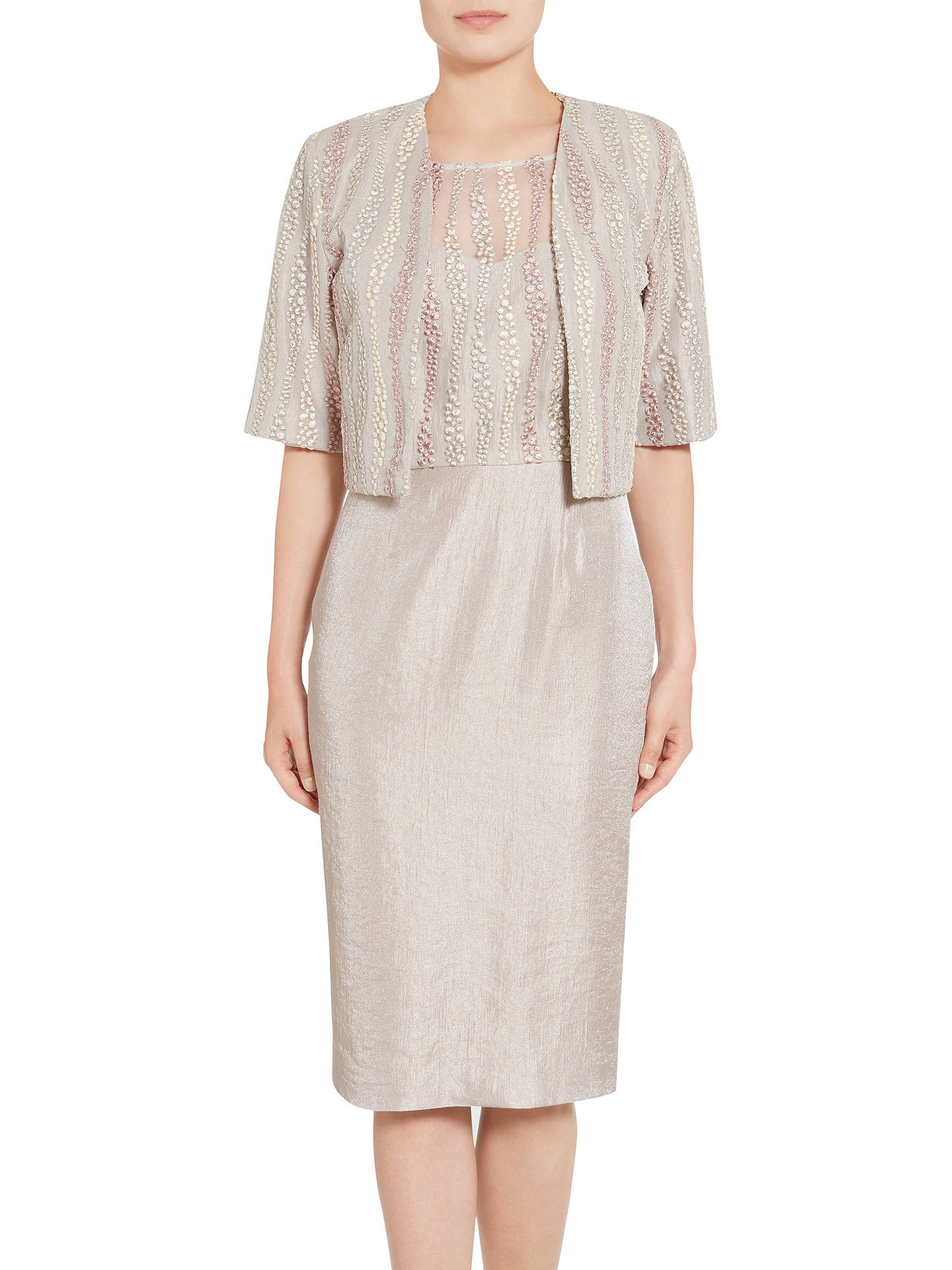 dbe2aeb1f54a0 Gina Bacconi Embroidered Mesh Dress And Jacket, Oyster at John Lewis ...