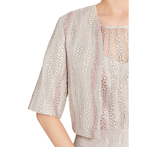 Buy Gina Bacconi Embroidered Mesh Dress And Jacket, Oyster Online at johnlewis.com