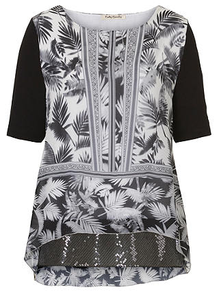 Buy Betty Barclay Print and Sequin Tunic Top, Black/White, 8 Online at johnlewis.com