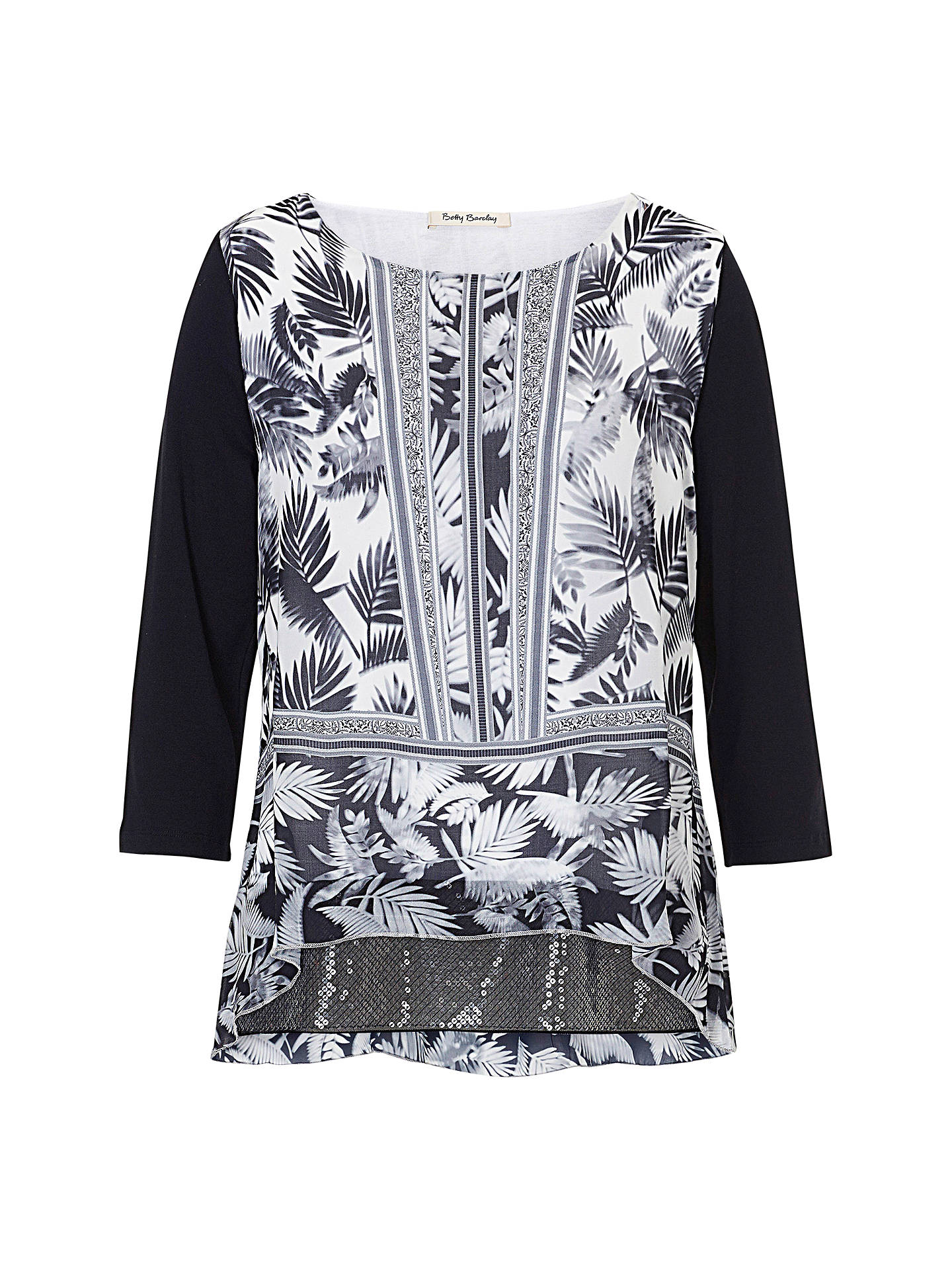 BuyBetty Barclay Print and Sequin Tunic Top, Black/White, 10 Online at johnlewis.com
