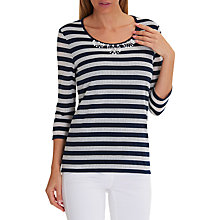 Buy Betty Barclay Embellished Stripe Top, Dark Blue/Cream Online at johnlewis.com