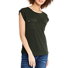 Buy Oasis Cupro Utility T-Shirt, Khaki Online at johnlewis.com