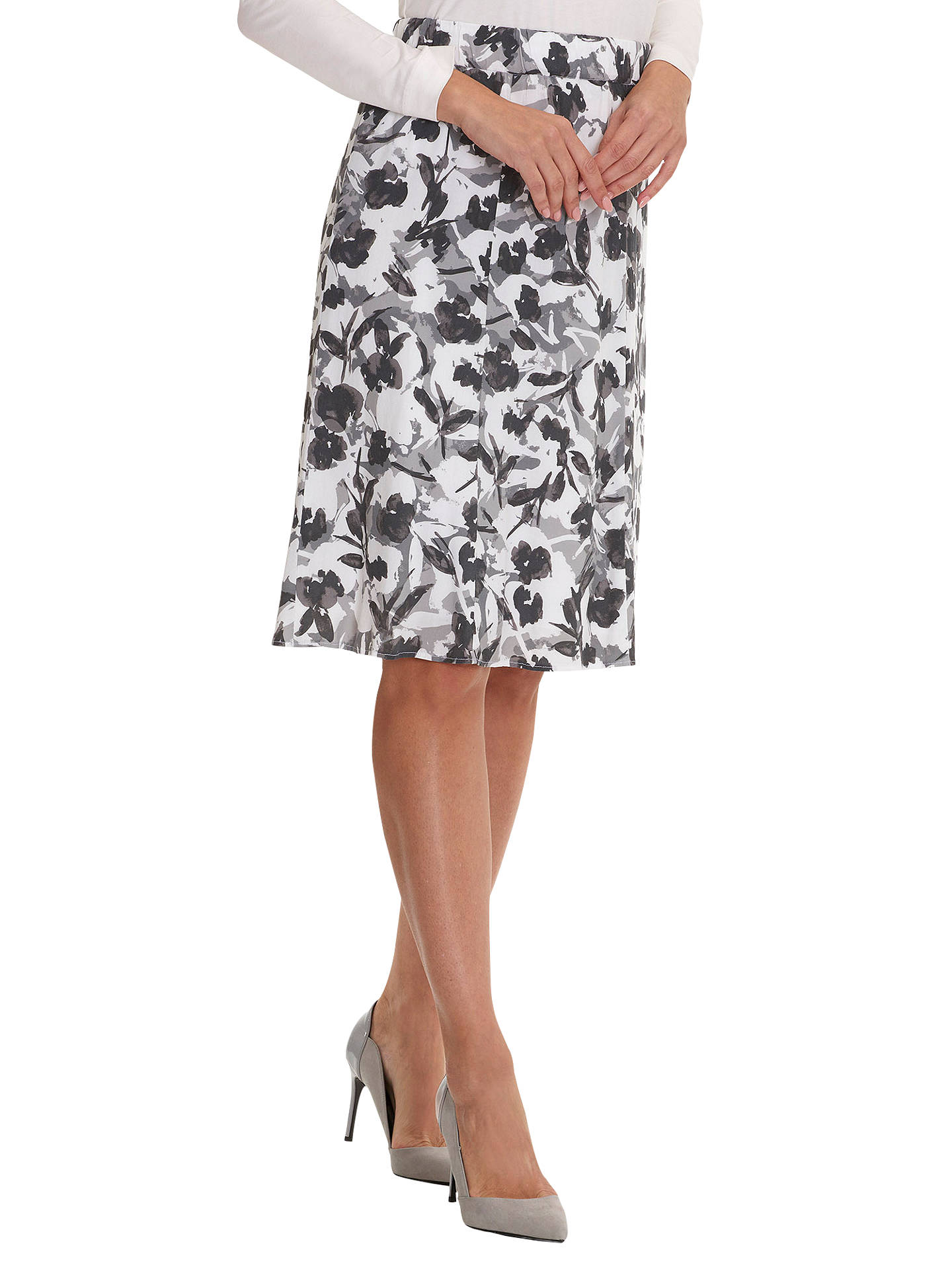 BuyBetty Barclay Printed Midi Skirt, White/Grey, 10 Online at johnlewis.com
