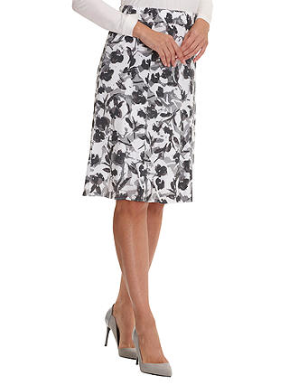 Buy Betty Barclay Printed Midi Skirt, White/Grey, 8 Online at johnlewis.com