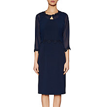 Buy Gina Bacconi Crepe Dress And Chiffon Jacket With Guipure Trim, Spring Navy Online at johnlewis.com