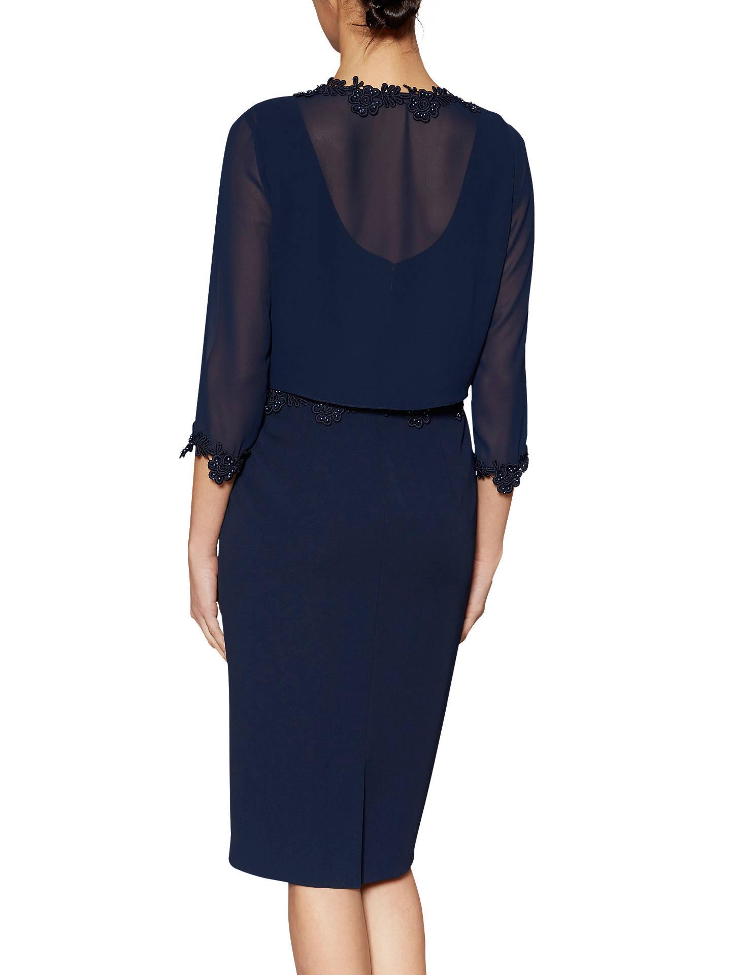 8e4af3f7846c2e ... Buy Gina Bacconi Crepe Dress And Chiffon Jacket With Guipure Trim