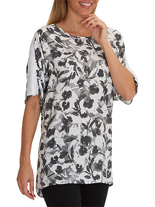 Buy Betty Barclay Floral Print Tunic Top, White/Grey, 8 Online at johnlewis.com