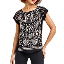 Buy Oasis Ornate Paisley T-Shirt, Black Online at johnlewis.com