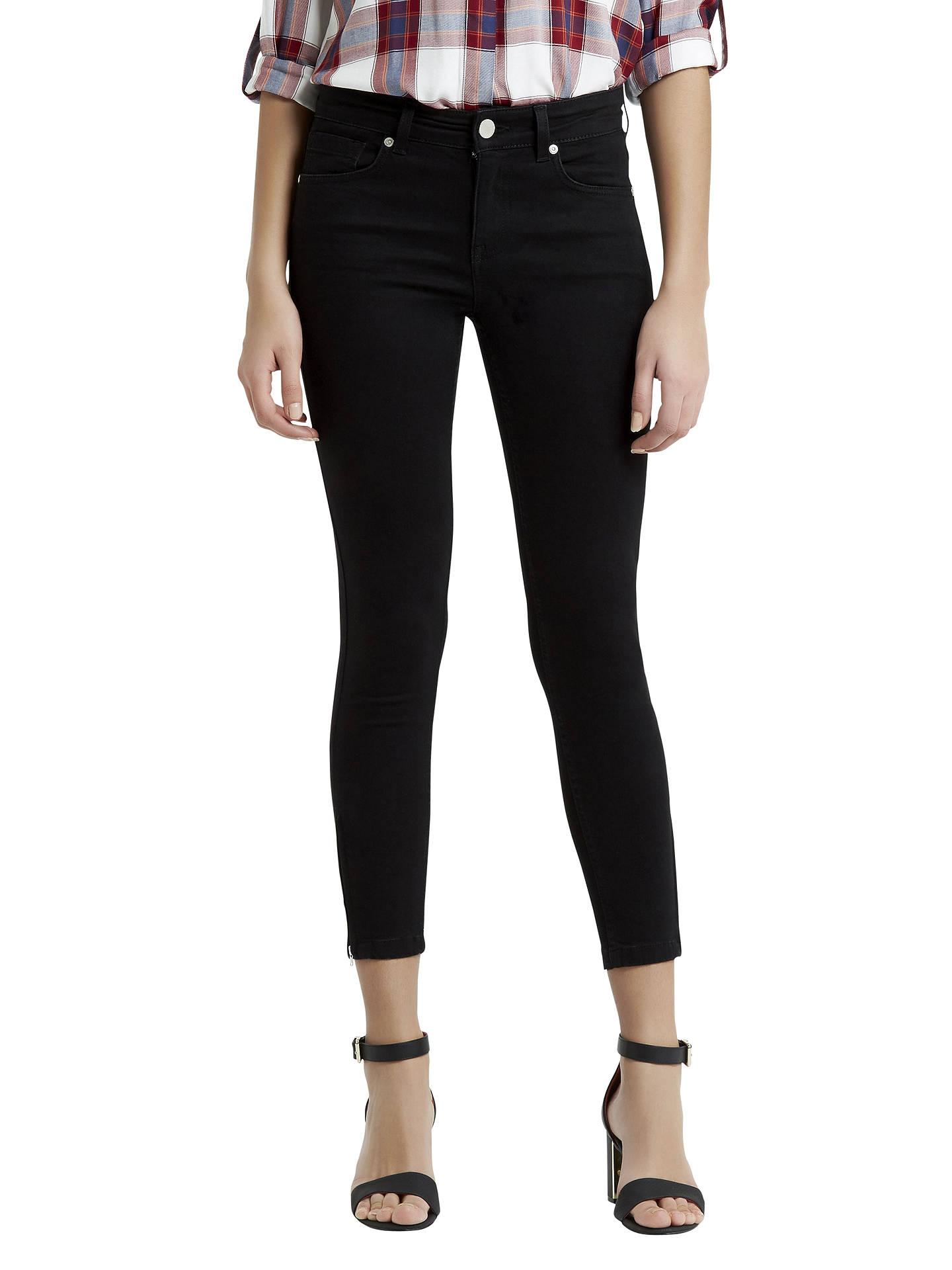 204f833fcd8e Buy Oasis Isabella Skinny Cropped Jeans, Black, 8 Online at johnlewis.com  ...