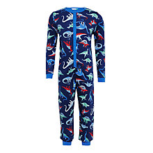 Buy John Lewis Children's Dinosaur Onesie, Blue Online at johnlewis.com