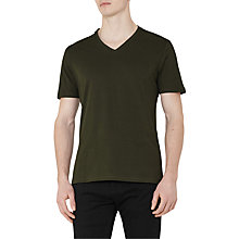Buy Reiss Dayton Cotton V-Neck T-Shirt, Oxidised Green Online at johnlewis.com