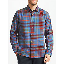 Buy John Lewis Contrast Slub Check Shirt, Navy Online at johnlewis.com
