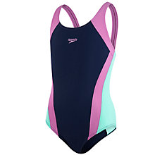 Buy Speedo Girls' Contrasting Panel Swimsuit, Navy/Purple Online at johnlewis.com