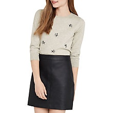 Buy Oasis Bee Embellished Crew Neck Jumper, Mid Grey Online at johnlewis.com