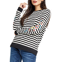 Buy Oasis Striped Embroidered Sweatshirt, Black/White Online at johnlewis.com
