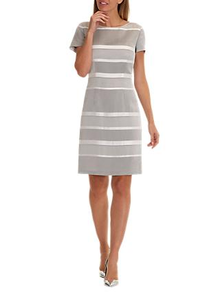 Betty Barclay Striped Satin Shift Dress, Grey/Cream
