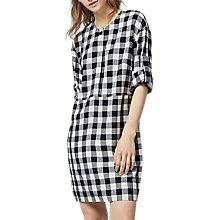 Buy Warehouse Gingham Popper Dress, Black Online at johnlewis.com