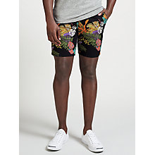 Buy Scotch & Soda Tropical Print Chino Peached Cotton Shorts, Black Online at johnlewis.com