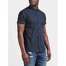 Buy Scotch & Soda Short Sleeve Mini Square Print Shirt, Navy Online at johnlewis.com