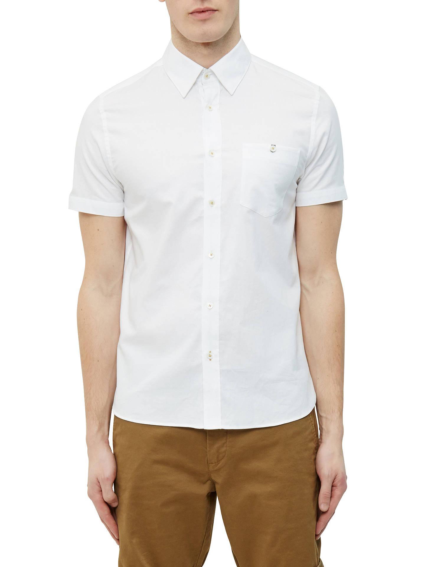 12355e4a035a77 Ted Baker Wooey Textured Cotton Short Sleeve Shirt at John Lewis ...