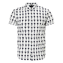 Buy Scotch & Soda Short Sleeve Palm Print Shirt, White Online at johnlewis.com