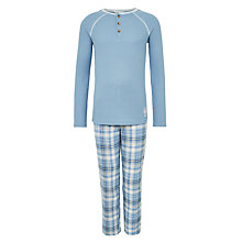 Buy John Lewis Children's Henley Checked Print Pyjamas, Blue Online at johnlewis.com