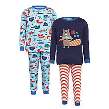 Buy John Lewis Children's Beaver Pyjamas, Pack of 2, Multi Online at johnlewis.com