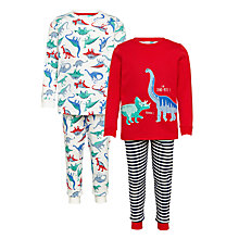 Buy John Lewis Children's Dinosaur Pyjamas, Pack of 2, Red Online at johnlewis.com