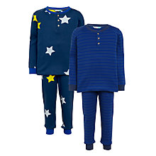 Buy John Lewis Children's Star and Stripe Pyjamas, Pack of 2, Blue Online at johnlewis.com
