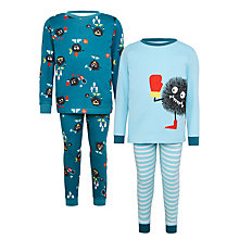 Buy John Lewis Children's Sports Monster Pyjamas, Pack of 2, Teal/Blue Online at johnlewis.com