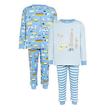 Buy John Lewis Children's New York City Pyjamas, Pack of 2, Blue/Multi Online at johnlewis.com
