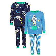 Buy John Lewis Children's Space Print Pyjamas, Pack of 2, Blue Online at johnlewis.com