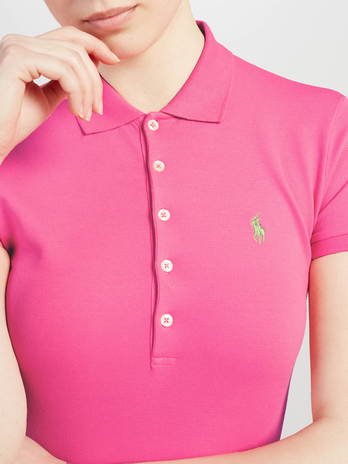 Buy Polo Ralph Lauren Julie Skinny Fit Stretch Polo Shirt, Baja Pink, XS Online at johnlewis.com