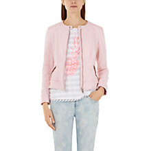 Buy Marc Cain Tweed Biker Jacket, Pink Online at johnlewis.com