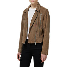 Buy Selected Femme Lara Suede Leather Jacket, Timber Wolf Online at johnlewis.com