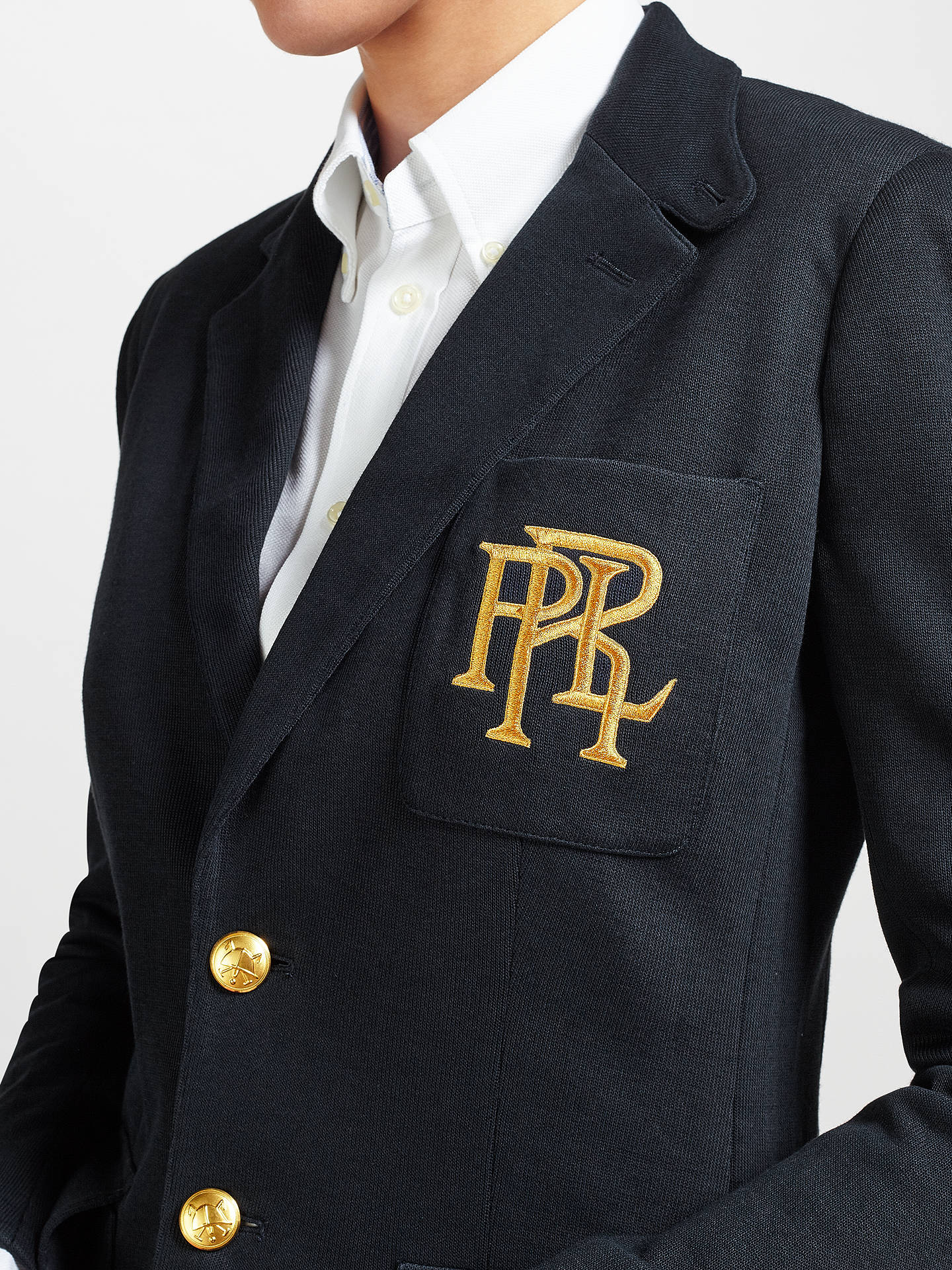 BuyPolo Ralph Lauren Knit Cotton Blazer, Aviator Navy, 8 Online at johnlewis.com